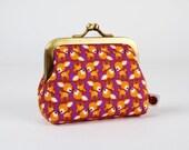 Frame coin purse - Chibi deers on purple - Deep mum / Kawaii japanese fabric / Little bambi / brown ochre orange / Woodland Spring