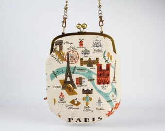 Frame purse with shoulder strap - City Maps - Paris and Amsterdam - Handbag / Modern japanese fabric / Cotton and Steel / Rifle Paper Co.
