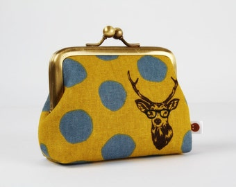 Metal frame purse with two sections - Samber deer in yellow and grey - Siamese dad / Japanese fabric / Echino / Brown slate mustard / boho