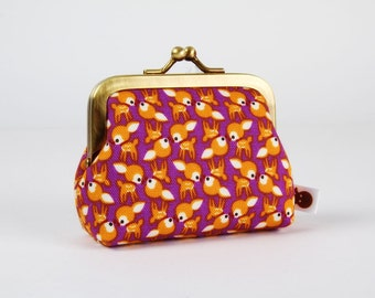 Frame coin purse - Chibi deers on purple - Deep mum / Kawaii japanese fabric / Little bambi / brown ochre orange / Woodland Spring