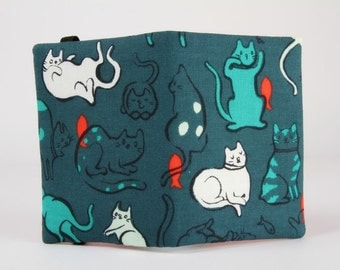 Fabric card holder - Schmitties in dusty blue / Sarah Watts / Cotton and Steel / Cat Lady / Japanese fabric / Cute cats teal green orange
