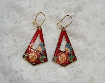 Lovely Floral Butterfly Cloisonne Gold Tone Dangle Earrings
