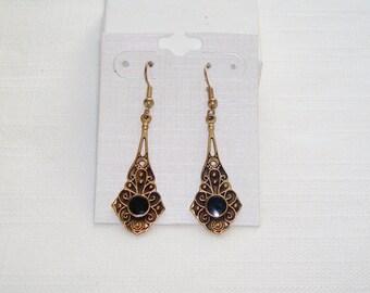Vintage Gold Tone Black Dangle Earrings