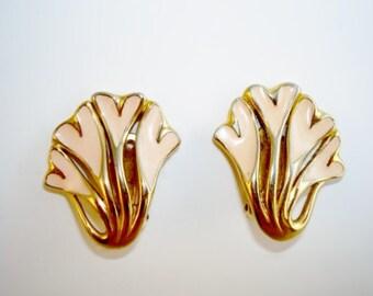 TRIFARI Cream Heart Enamel Gold Tone Clip On Earrings