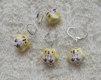 owl crochet stitch markers - knitting stitch markers - removable - sunny yellow owl beads
