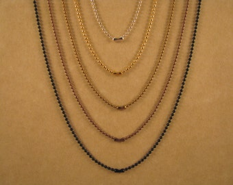 36 Inch 1.5 mm Ball Chain Necklace in Five Finishes: Silver, Gold, Antique Gold, Antique Copper, or Black