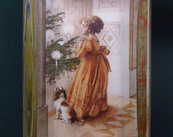 Jane Austen Regency Christmas Tree Large Rectangle Glass Paperweight Holiday Decor