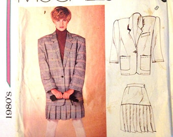 1980s Pleated Skirt Boxy Jacket Cute Suit McCalls French Connection Sewing Pattern