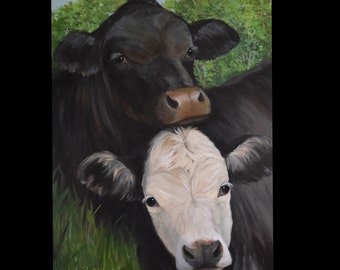 Cow Painting, Animal Portrait, Friends,24x36 Canvas Painting, Original by Cheri Wollenberg