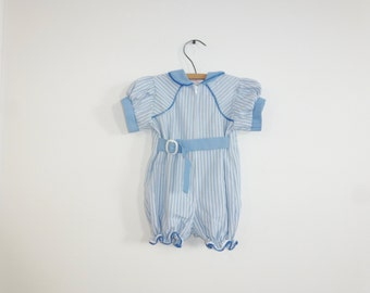 Vintage Blue and White Stripe Romper