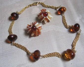 Vintage amber or tortoise look clip earrings, amber look earrings necklace set, amber look nuggets chain necklace, Hong Kong clip earrings
