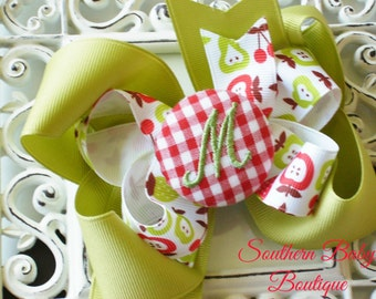 New Item---Boutique Monogrammed Baby Toddler Girl Double Hair Bow Clip---FRUIT STAND---Red Gingham---Letter M--Ready to Ship