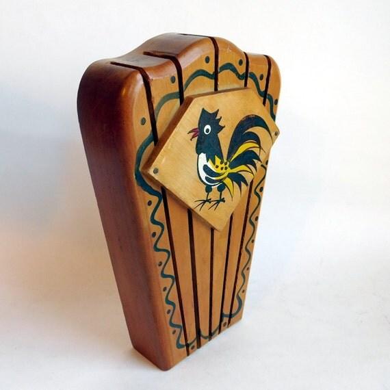 Painted Knife Block: Vintage Woodpecker Wood Ware Hanging Knife Block W/