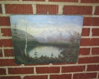 Antique Original Signed and Dated 1916 Landscape Oil Painting of Lovely Mountain Lake