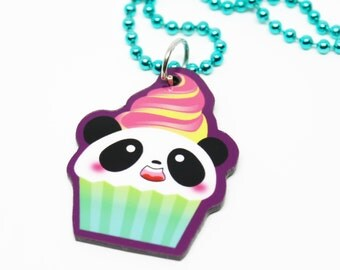 Electric Cupcake Panda Necklace