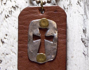 Leather Necklace Weathered Cross Mens Necklace Leather Pewter Spiritual Rustic Cross Necklace Brown Leather Natural Elements Necklace