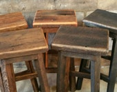 YOUR Rustic and Reclaimed Rectangle Oak Barn Wood Bar Stool, Sealed or Painted with FREE SHIPPING - REBSC128