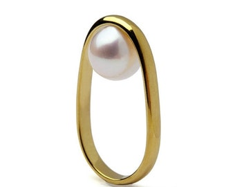 ON SALE - OVERTURN 14k Gold Pearl Ring,  Gold Pearl Engagement Ring,  Unique Pearl Ring, Modern Geometric Pearl Ring, Minimalist Gold Ring
