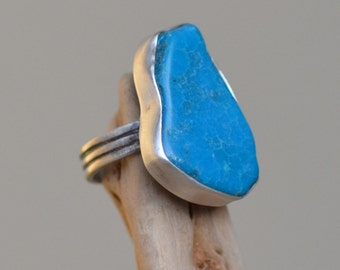 Blue Chrysocolla Silver Ring. Silversmith. Free Form Turquoise Color LARGE Oxidized Silver Cocktail Ring. Gemstone Handmade Ring. Size 6.0