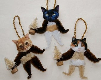 CATS Vintage Style Chenille Christmas Ornaments, Tabby Calico Black Cats  (71)