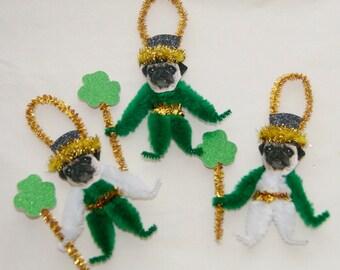 Pug Chenille Dog St. Patrick's Day Ornaments, Pug,  Primitive Vintage Style (179)