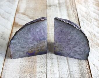 Agate Stone Bookends - Purple