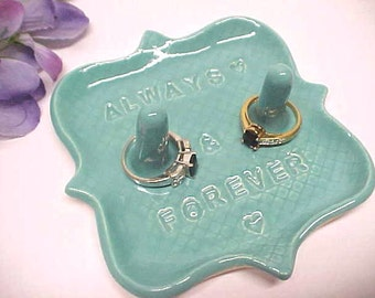 Pottery Ring Holder Dish - Double Post - Engagement Gift for Couple - Custom Engraved - Ring Storage - Turquoise Blue - Jewelry Dish