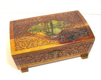 Embossed Wood Box With Decoupaged Top, Jewelry Box, Treasure Chest
