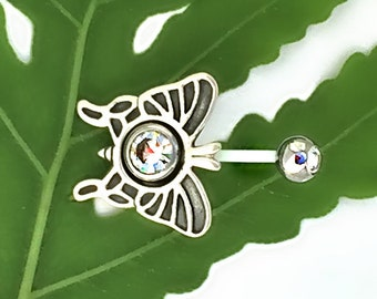 Sterling Silver, Butterfly Design, Flexible Navel Ring, Pregnancy Jewelry, Cut to Fit, Adjustable Sizing