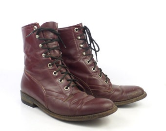Roper Boots Vintage 1980s Distressed Burgundy Lace up Women's size 7 Tex Tan