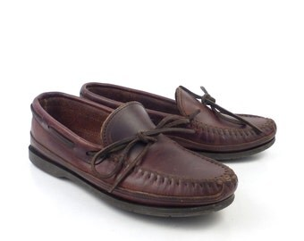 Brown Minnetonka Moccasins Vintage 1990s Oiled Leather Slip on Shoes Women's size 7