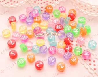 Translucent Alphabet Beads (4x7mm) - 388 pieces approx. | Acrylic Beads | Plastic Beads | Resin Jewelry | Kawaii Beads