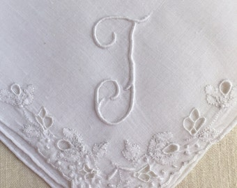 Vintage White Hanky with a White Initial T Handkerchief Hankie