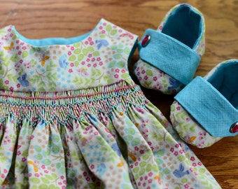16 inch Waldorf Doll Dress Waldorf Doll Clothes Waldorf Doll Shoes - Smocked Sundress