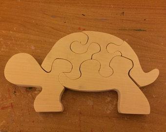 Wooden handmade turtle jigsaw puzzle
