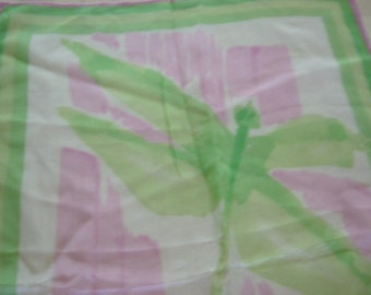 """Vintage Vera Lime and Pink 42"""" x 14 1/4"""" Long Silk Scarf with Dragonflies"""