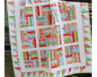 Quilt Pattern -  Chutes and Ladders -  Baby to King Sizes - Fat Quarter Friendly - PDF INSTANT DOWNLOAD -  Easy