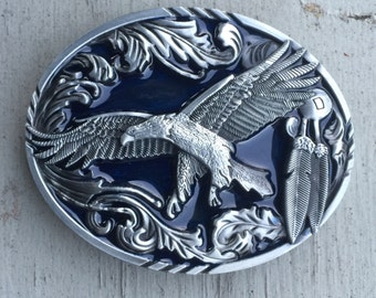 1980s Eagle with Feathers Native American Design Belt Buckle