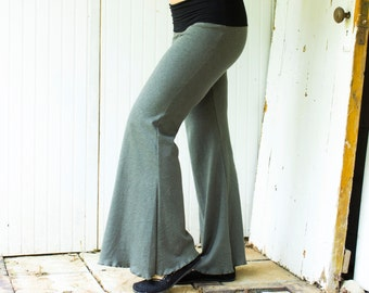 SAMPLE SALE - Size S/M - Hemp Weekend Pants - Moss Green - Hemp and Organic Cotton Knit - Ready to Ship - Organic Lounge Pants - Yoga Pants