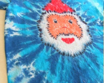 Christmas Tie Dye T-shirt - Made to Order - Santa- YOUTH size XS, Sm, Med, Lg