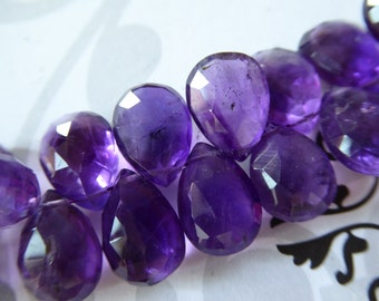 Shop Sale.. 2 6 12 pcs, 12-13 mm, PURPLE AMETHYST Pear Briolettes, Luxe AAA, Royal Purple Focals, Faceted, february birthstone 1213 solo tr