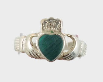 Claddagh Ring, Sterling Silver, Green Malachite Vintage Ring, Irish Jewelry, Celtic Ring, Size 5 1/2, Irish Wedding, Heart, Crown, Hands