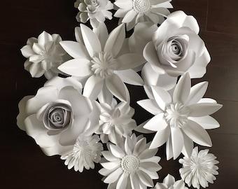 Large Paper flowers - Flower back drop - wedding flowers set of 12