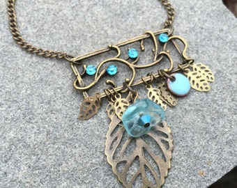 Jewelry, Gift , Necklace, Antique Gold, Enamel Filigree Necklace, Blue Necklace, Rhinestone Necklace, Pendant Necklace, Czech Glass Necklace