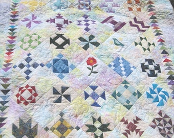 Lap quilt  throw quilt Quilted wall art  blanket Batik Sampler large wall hanging Quiltsy handmade