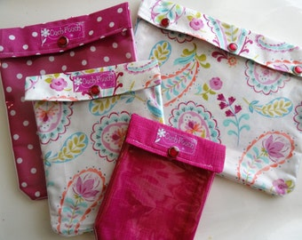 Shabby Chic Paisley & Pink Ouch Pouch Set- 4 Sizes Clear Pocket Purse and Diaper Bag Inserts First Aid Medications Cosmetics Cases