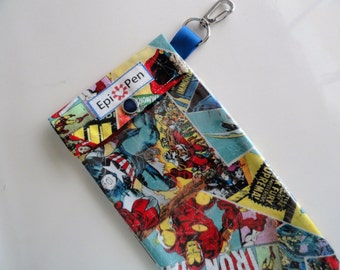 Epi Pen Pouch Marvel Comics Clear Pocket with Clip Holds Allergy Injector Pens Boys Epi Case - 3 Sizes Medical ID Card Included