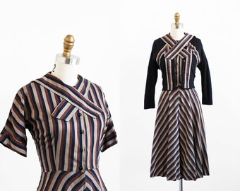 vintage 1950s dress / 50s dress / Brown Striped Dress with Matching Black Cardigan