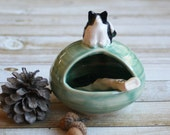 Salt Pig with Kitty Sculpture Salt Cellar in Green Ceramic Stoneware Salt Keeper for the Cat Lover Handcrafted Made in USA Ready to Ship