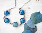 Blue petal necklace - Flower jewelry - Bloom collection by BeautySpot (BN024)